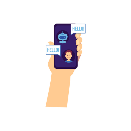 Vector hand holding smartphone with chat bot greeting young man saying hello with speech bubbles. Robot assisnat chatting. Artificial intelligence support in messengers. Chatterbot dialog with a man
