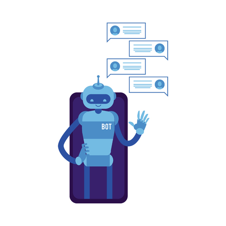 Vector cheerful chat bot waving hand from smartphone screen with speech bubbles. Modern artificial intelligence support in messengers, social networks. Automatic customer support concept.