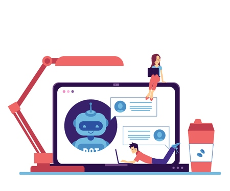 Vector cheerful chat bot communicating through laptop screen with freelancer man lying at keyboard, young girl sitting at monitor. Modern artificial intelligence support . Automatic customer support. Illustration