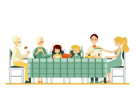 Grandparents, parents and children sitting together at the dinner table vector flat illustration isolated on white background. Family traditions and generations connection.