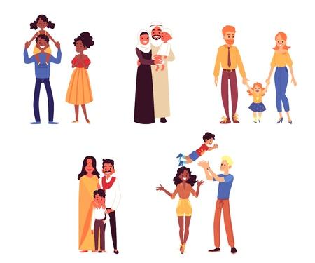 Set di diverse etnie felici e famiglie di razza con stile cartone animato bambino, illustrazione vettoriale isolato su sfondo bianco. Coppie di madri e padri con i loro figli e figlie