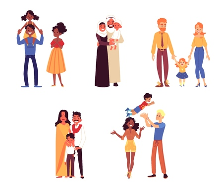 Set of happy diverse ethnicity and race families with child cartoon style, vector illustration isolated on white background. Couples of mothers and fathers with their sons and daughters Vettoriali
