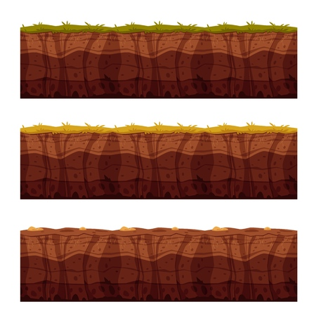 Vector soil ground layers with grass, underground texture set. Subterranean landscape for game map design. Layered earth surface, geological natural clay.