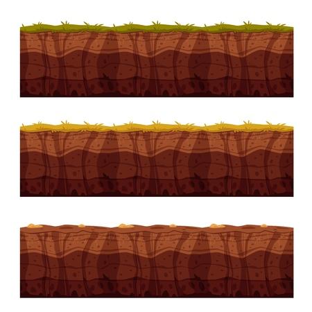 Vektorboden-Bodenschichten mit Gras, unterirdischer Textursatz. Unterirdische Landschaft für die Gestaltung von Spielkarten. Geschichtete Erdoberfläche, geologischer Naturton.