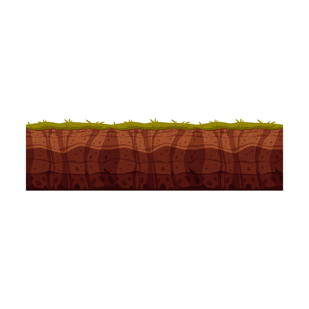 Vector soil ground layers with grass, underground texture. Subterranean landscape for game map design. Layered earth surface, geological natural clay. Иллюстрация