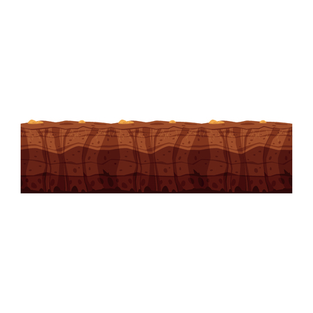 Vector soil ground layers with rocks, underground texture. Subterranean landscape for game map design. Layered earth surface, geological natural clay. Illustration