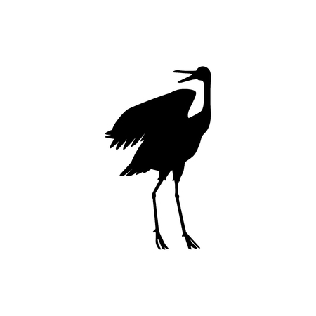 Vector hand drawn crane bird black silhouette icon. Sketch flying animals standing communicating with another birds with open beak. Elegant stork, symbols of china and asia. Isolated illustration Çizim