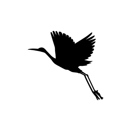 Vector hand drawn crane bird black silhouette icon. Sketch flying animal taking off. Elegant stork, symbols of china and asia. Isolated illustration