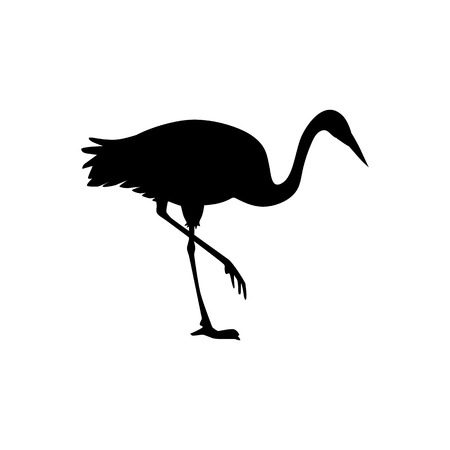 Vector hand drawn crane bird black silhouette icon. Sketch flying animal looking for fish. Elegant stork, symbols of china and asia. Isolated illustration Illustration