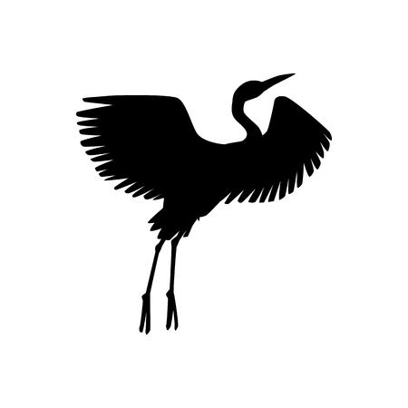 Vector Hand Drawn Crane Bird Black Silhouette Icon  Sketch