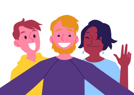Vector cheerful friends making self-portrait using camera. Happy men and african black woman having fun together making photography with smile. Isolated illustration