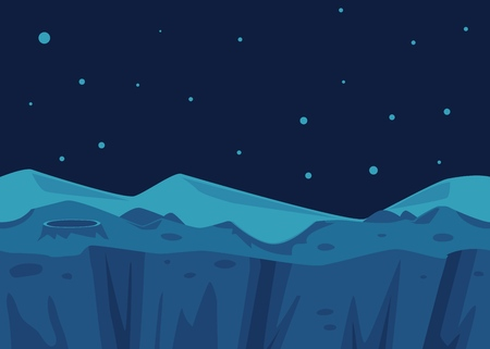 Vector cosmic landscape background with rocky planet with craters on night starry sky. Fantastic space atmosphere. Cosmos exploration, alien game design backdrop.
