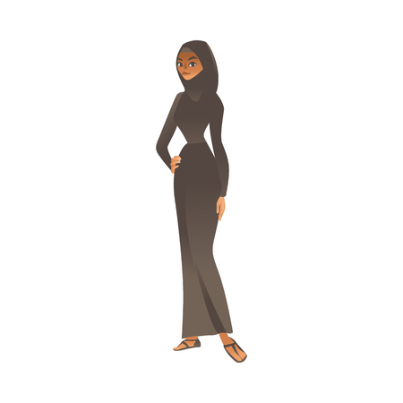 Vector cartoon muslim khaliji woman in hijab icon. Smiling arab girl in black traditional islamic clothig, headscarf for mosque visiting. Middle asia, Emirates or Saudi female character. 일러스트