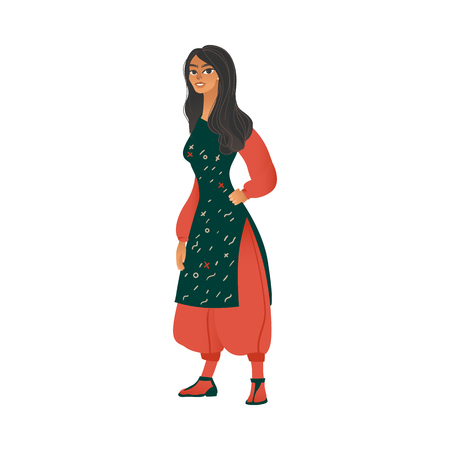 Vector beautiful young woman in gypsy costume. Romanian style outfil cute girl standing smiling cartoon icon. Happy female character in national clothing. Illustration