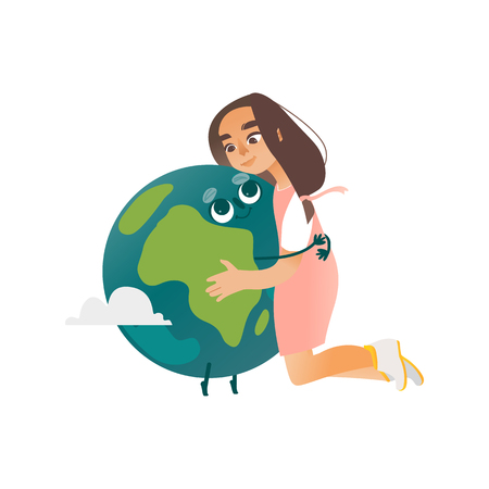 A little girl in a pink dress hugs the green and blue Earth. Cute eco kids, baby hugging our planet. Vector character illustration.