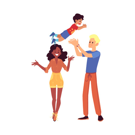 Happy interracial family stands tossing up their son cartoon style, vector illustration isolated on white background. Mixed race african mother and white father playing with their mulatto child