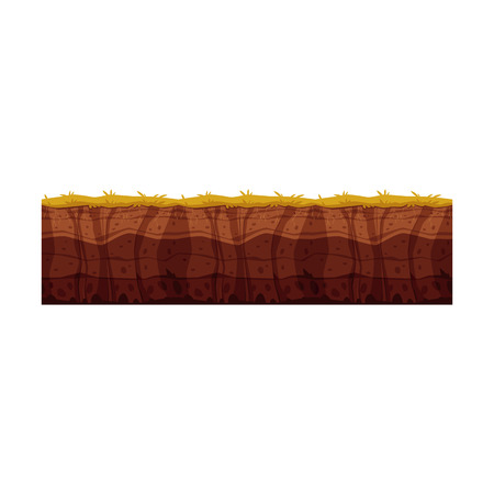 Vector soil ground layers with grass, underground texture. Subterranean landscape for game map design. Layered earth surface, geological natural clay. 向量圖像