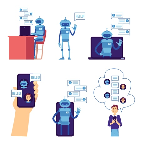 Vector chat bot concept set. Robot saying hello, waving hand from smartphone screen with speech bubbles, communicating with man. Modern artificial intelligence support. Automatic customer support.