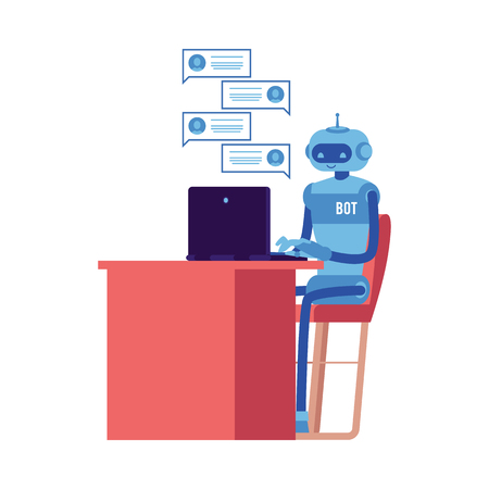 Vector cheerful chat bot sitting at workplace behind laptopscreen with speech bubbles. Modern artificial intelligence support in messengers, social networks. Automatic customer support concept. Illustration