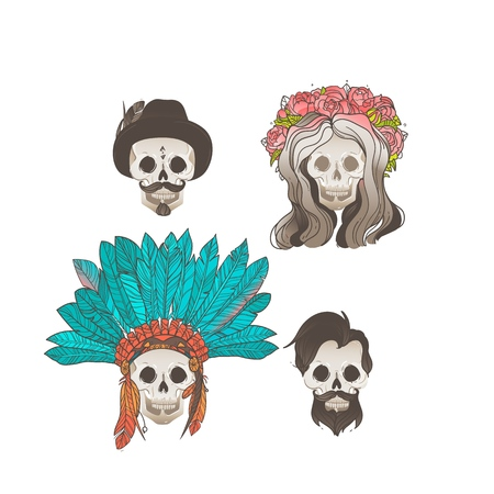 Collection of human skulls with decorations - set of four dead people drawings with hair, hats and headdresses, vector illustration