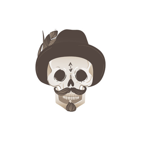 Hipster male skull with hat and mustache, dead mans skeleton head with smile on his face - vector illustration isolated on white background