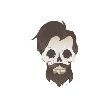Male skull with black hair and beard - cartoon hipster image of dead man with modern hairstyle - vector illustration isolated on white background