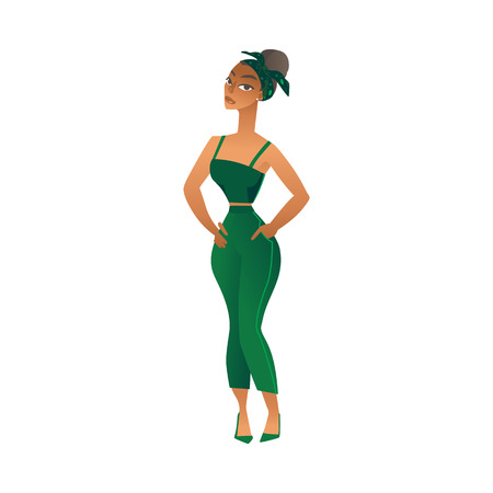 Vector cute african american woman with tied up hairstyle standing smiling in green overalls. Beautiful black girl on fashionable outfit. Happy female character cartoon icon.