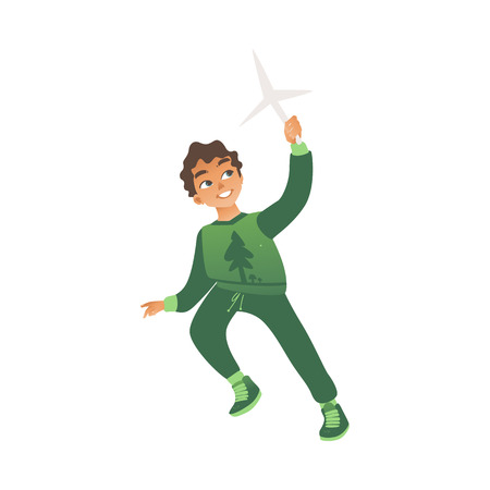 A little boy in green clothes runs with a toy windmill in his hands. Eco children concept, isolated vector illustration on white background. Illustration