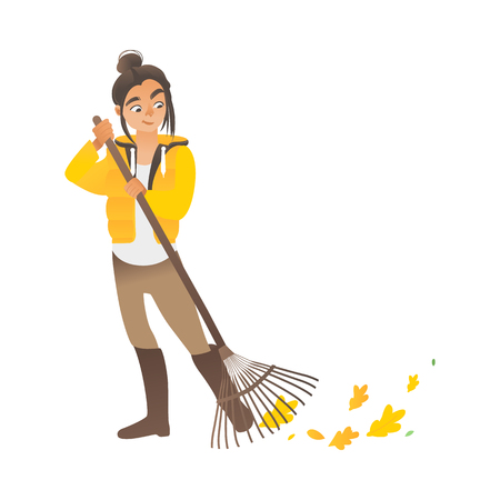 A cute girl or young woman sweeps the leaves with a rake. Eco children activities with rake, vector illustration. Ilustracja