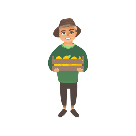 A little caucasian boy holds a box with a crop of yellow apples or peppers. Kid boy harvests, childhood farmer and gardener. Isolated vector eco flat illustration on white background. Illustration