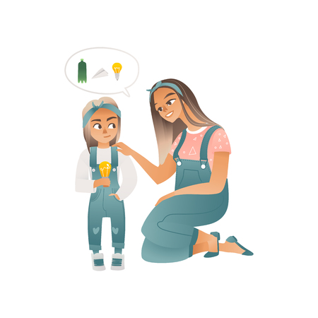 A young caucasian woman and mother explains ecology to a little girl and daughter. Plastic bottle, paper plane and electric lamp. Children eco concept, vector illustration.