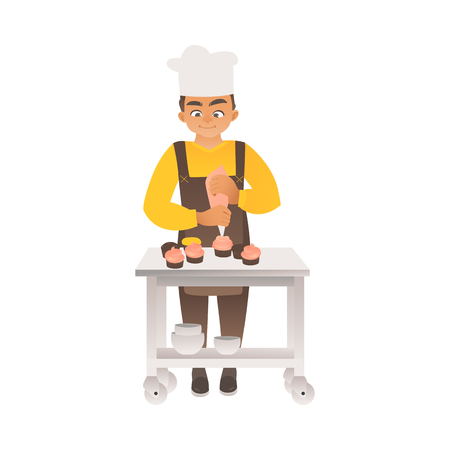 A boy or teenager in a chefs hat cooks cupcakes or cakes in flat cartoon style. Child cook prepares sweets, childrens hobby, vector illustration.