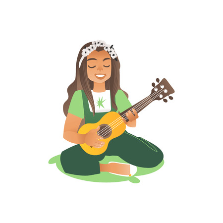 A long haired girl or a young beautiful woman sits on the grass and plays the guitar. A child or teenager sings and plays the guitar. Musical hobby of children and teenagers. Illustration