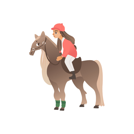 Girl rider in pink form on horseback. Riding and equestrian sport for children and teenagers, hobbies with animals. Isolated vector illustration in flat cartoon style. 일러스트