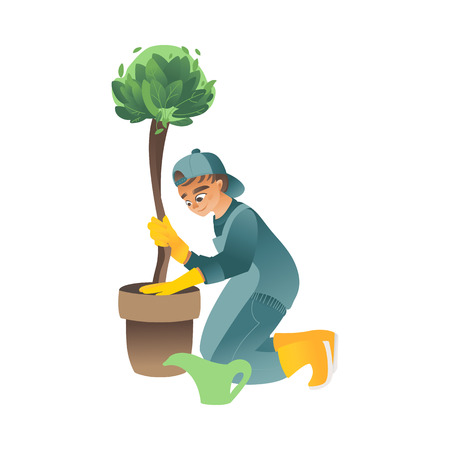 A little boy or teenager plants, waters or cares for a green tree in a flat cartoon style, vector illustration. Vectores