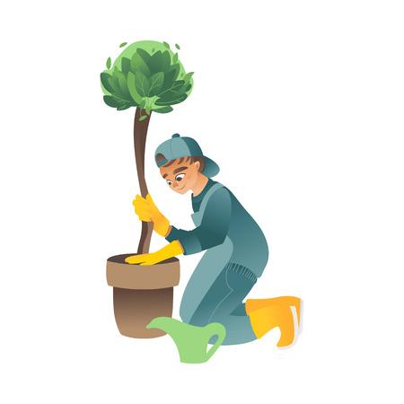 Un petit garçon ou un adolescent plante, arrose ou s'occupe d'un arbre vert dans un style cartoon plat, illustration vectorielle. Vecteurs
