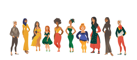 Vector muslim khaliji woman in hijab, Irish redhead, spanish girl in long dress, shortcut hairstyle women, african curly hair female character icon set. International people smiling in national cloth.