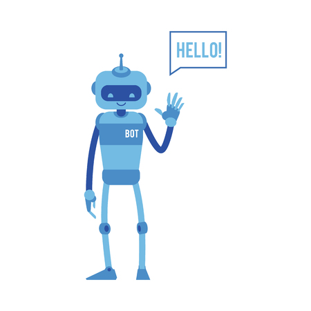 Vector cheerful chat bot waving hand saying hello. Modern artificial intelligence support in messengers, social networks. Automatic customer support concept. Ilustrace