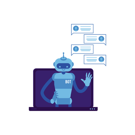 Vector cheerful chat bot waving hand from laptop screen with speech bubbles. Modern artificial intelligence support in messengers, social networks. Automatic customer support concept. Ilustração