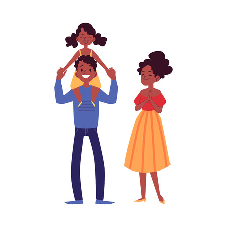 African-American family standing with daughter on dad shoulders cartoon style, vector illustration isolated on white background. Happy mother and father with little girl child Banque d'images - 122455462