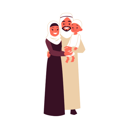 Arabian family with son in traditional clothes stands hugging cartoon style, vector illustration isolated on white background. Happy saudi mother and father holding little boy child 向量圖像