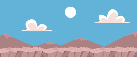 Vector abstract landscape background with blue cloud sky with sun, grey rocky layered ground. Natural summer countryside scenery for game or application UI design.