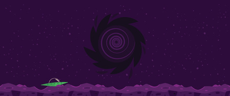 Vector cosmic landscape background with flying saucer on rocky planet with craters on night sky with huge black hole. Fantastic space atmosphere. Cosmos exploration, alien game design backdrop. Illustration