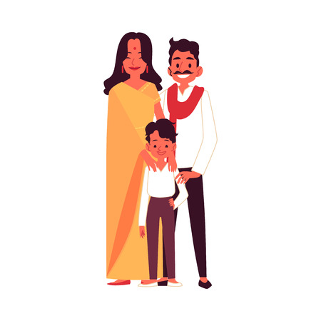Indian family with son in traditional clothes standing together cartoon style, vector illustration isolated on white background. Happy mother and father with little boy child