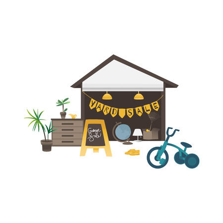 Yard or garage sale banner with assorted household and sport items flat vector illustration isolated on white background. Old goods and second hand things out of storage.