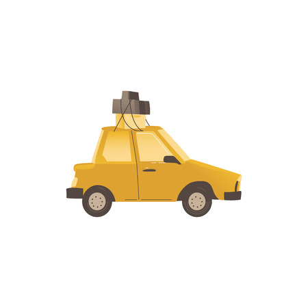 Small family car used in the house relocation and transportation flat vector illustration isolated on white background. Vehicle for housewarming and moving.