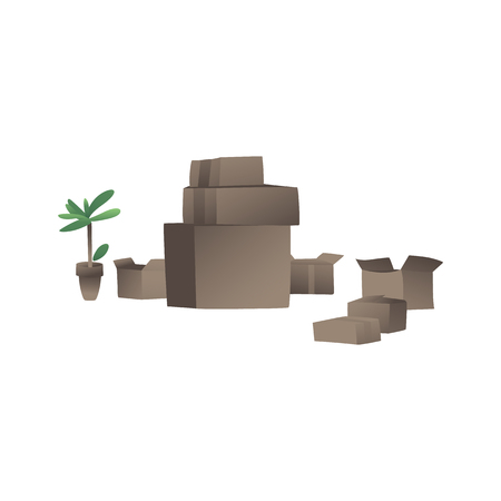Packed in cardboard boxes home goods for moving and relocation into a new house or apartment flat vector illustration isolated on white background. Packaging services icon. 스톡 콘텐츠 - 122455469