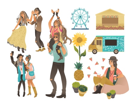 Summer music or food festival icones includes man and woman characters flat vector illustrations set isolated on white background. Tent and van car in holiday style. Vettoriali