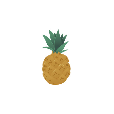 Fresh and juicy pineapple or ananas icon, healthy tropical organic summer fruit. Isolated flat cartoon vector illustration on white backgroind.