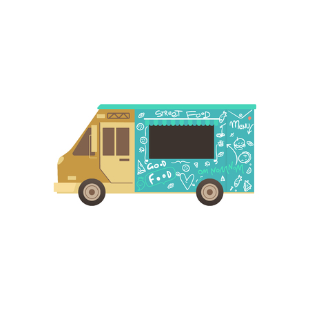 Food truck or van for fas delivery of street food, summer outdoor food festival concept. Isolated flat cartoon vector illustration. 向量圖像